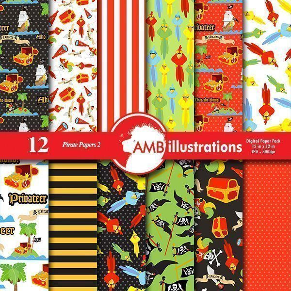 Pirate Digital paper Pack  AMBillustrations    Mygrafico