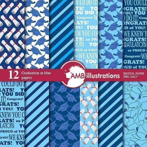 Graduation papers in blue Digital Paper & Backgrounds AMBillustrations    Mygrafico