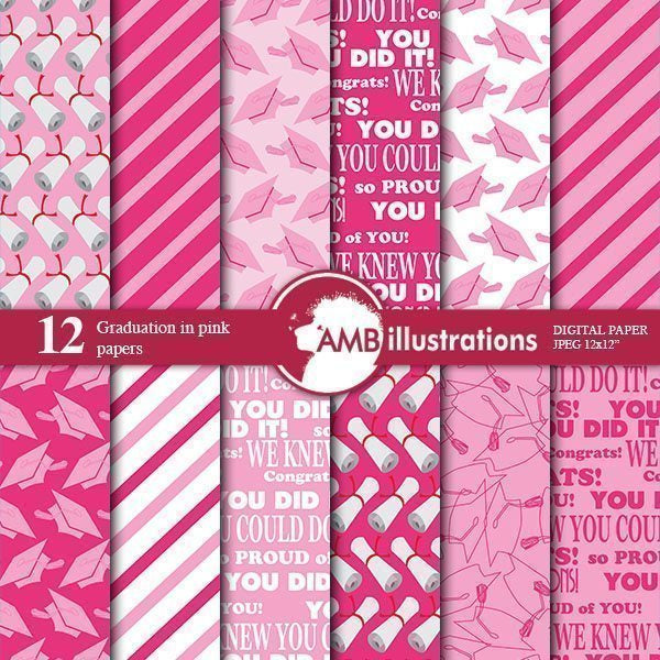 Graduation papers in pink  AMBillustrations    Mygrafico