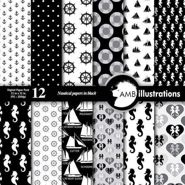 Nautical black and white papers  AMBillustrations    Mygrafico