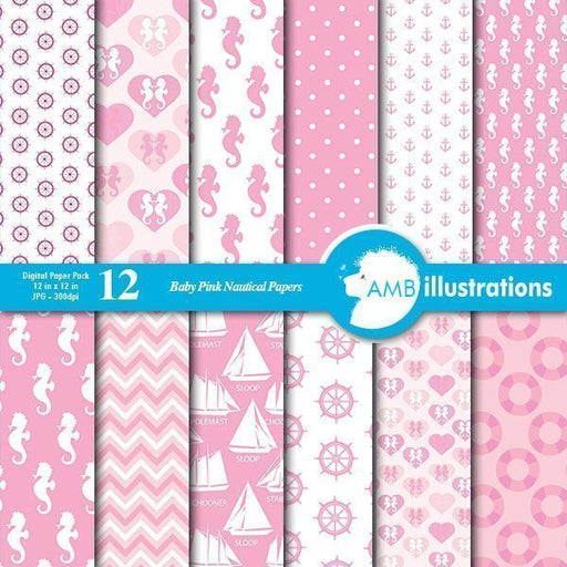 Nautical baby papers in pink  AMBillustrations    Mygrafico