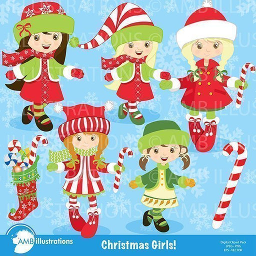 Christmas girls clipart pack Cliparts AMBillustrations    Mygrafico