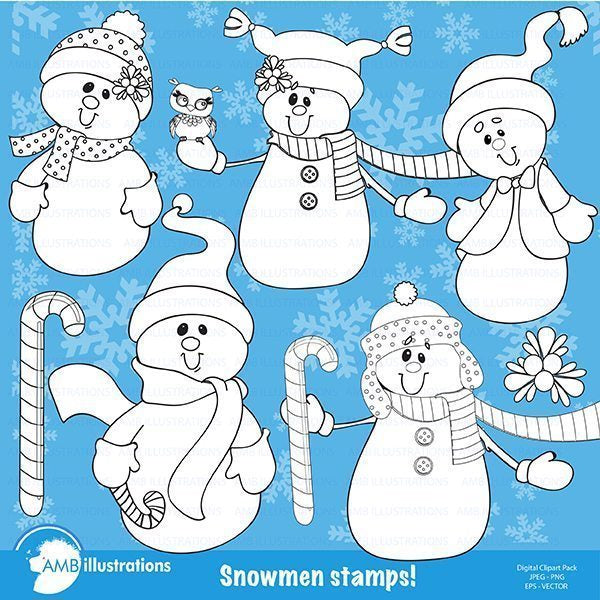 Christmas snowman stamps  AMBillustrations    Mygrafico