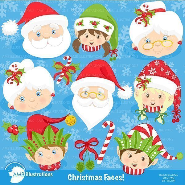 Christmas family faces clipart  AMBillustrations    Mygrafico