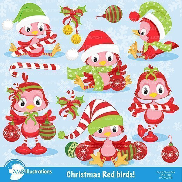 Christmas bird (in red) clipart  AMBillustrations    Mygrafico