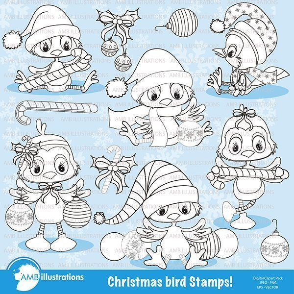 Christmas stamps - christmas birds stamps  AMBillustrations    Mygrafico