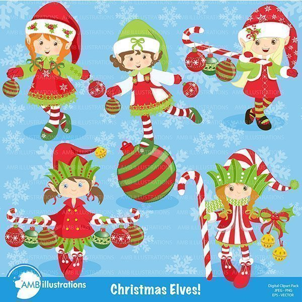 Christmas girl elves clipart AMBillustrations    Mygrafico