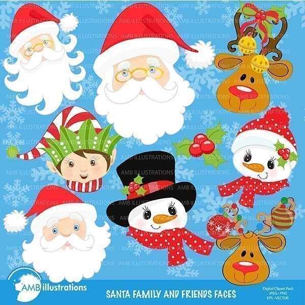 Christmas faces clipart  AMBillustrations    Mygrafico