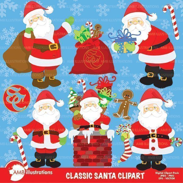 Christmas Classic Santa Clipart Pack clipart AMBillustrations    Mygrafico