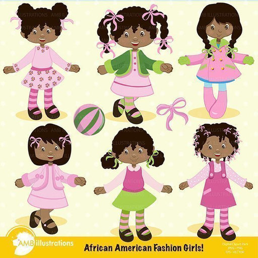 African American Fashion Girls Clipart AMBillustrations    Mygrafico