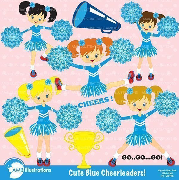 Blue Cheerleaders clipart  AMBillustrations    Mygrafico
