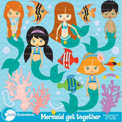 Mermaid Party clipart  AMBillustrations    Mygrafico