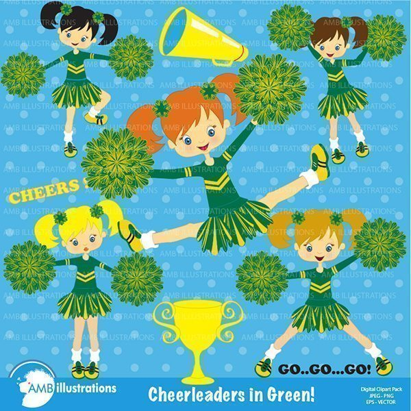 Cheerleaders in green clipart, Green cheerleaders clipart  AMBillustrations    Mygrafico