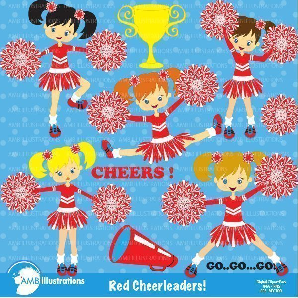 Red Cheerleaders clipart  AMBillustrations    Mygrafico