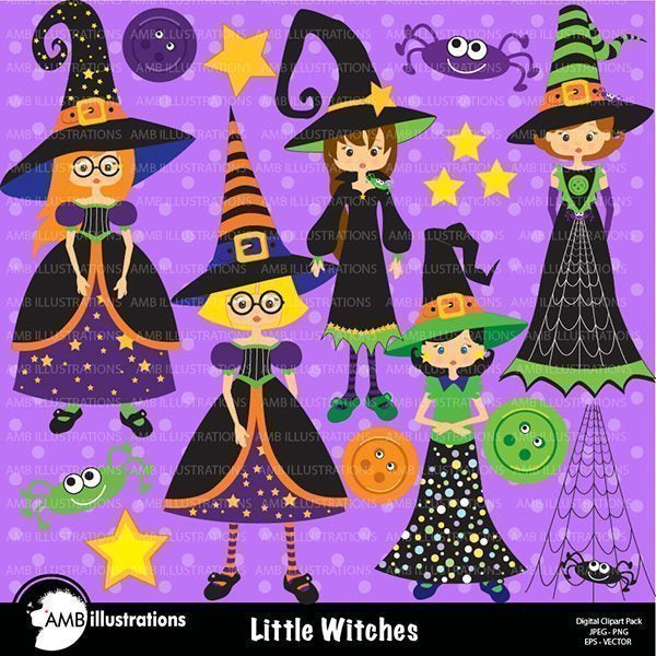Cute little witches clipart  AMBillustrations    Mygrafico