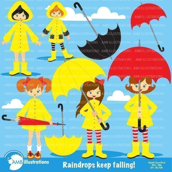 Rainy day girl cliparts  AMBillustrations    Mygrafico