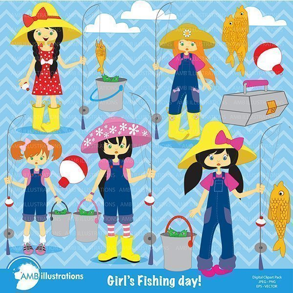 Girls gone fishing clipart  AMBillustrations    Mygrafico