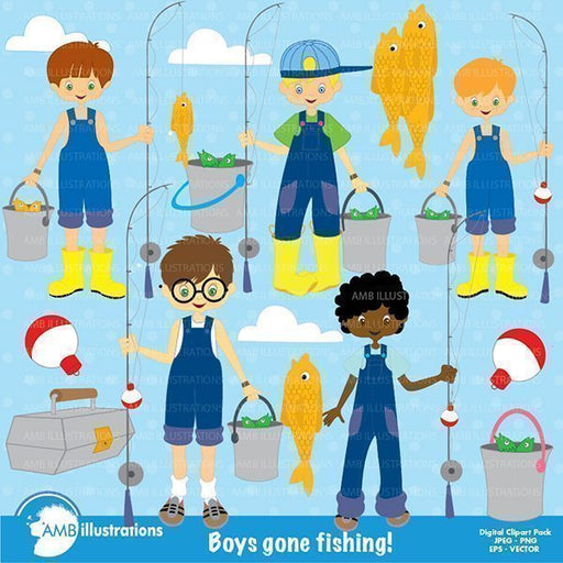 Fishing boys clipart  AMBillustrations    Mygrafico
