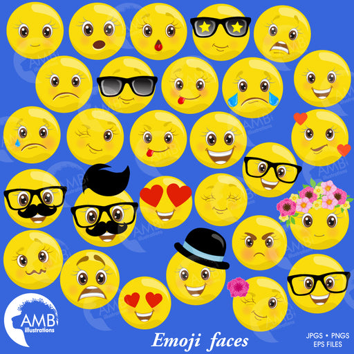 EMOJI clipart, Smiley Face, Feelings Clipart, Emoji Clipart, Feelings Clipart, AMB-2250