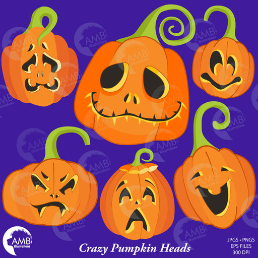 Halloween clipart, Pumpkin Clipart, Pumpkin Faces, Crazy Pumpkinheads, AMB-2256