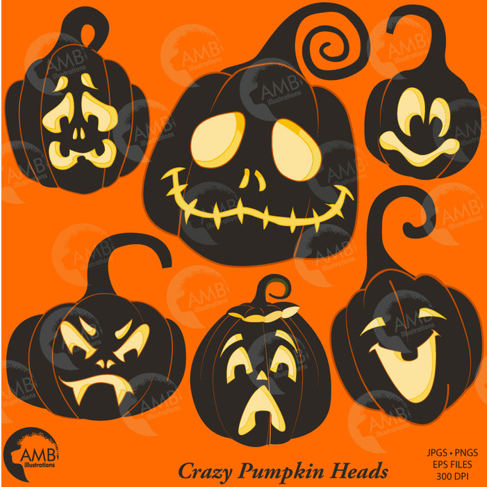 Halloween clipart, Pumpkin Clipart, Pumpkin Faces, Crazy Pumpkinheads, AMB-2256  AMBillustrations    Mygrafico