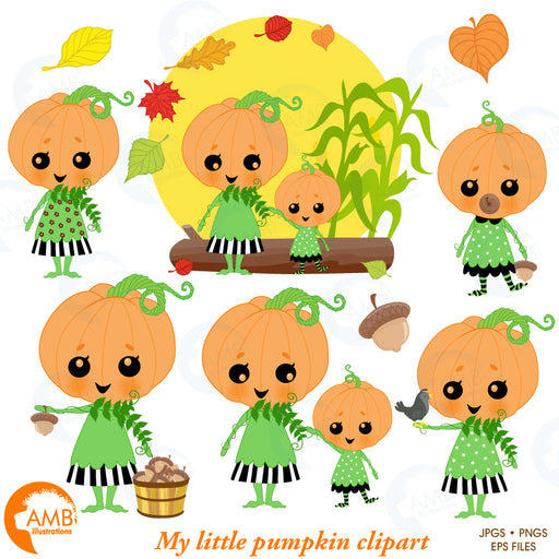 Darling little pumpkins clipart, Pumpkin Clipart, Girlie Pumpkin, Halloween clipart, AMB-2261  AMBillustrations    Mygrafico