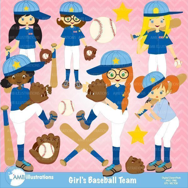 Baseball Girls Team Clipart  AMBillustrations    Mygrafico