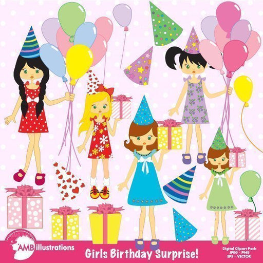 Birthday party girls clipart  AMBillustrations    Mygrafico