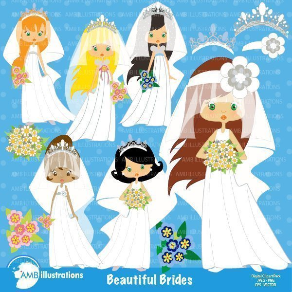Beautiful Brides clipart  AMBillustrations    Mygrafico
