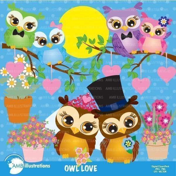 Owls celebration Clipart  AMBillustrations    Mygrafico