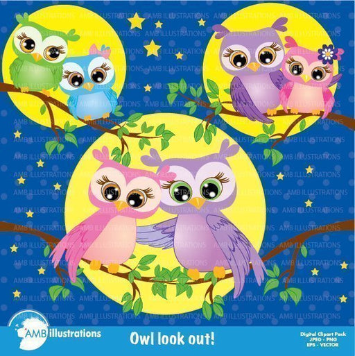 Owl Love Lookout Clipart Cliparts AMBillustrations    Mygrafico