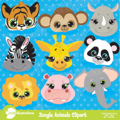 Jungle Animals clipart faces  AMBillustrations    Mygrafico