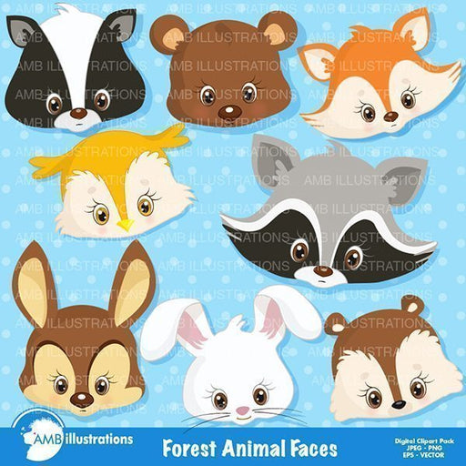 Forest Critters Clipart Faces Cliparts AMBillustrations    Mygrafico