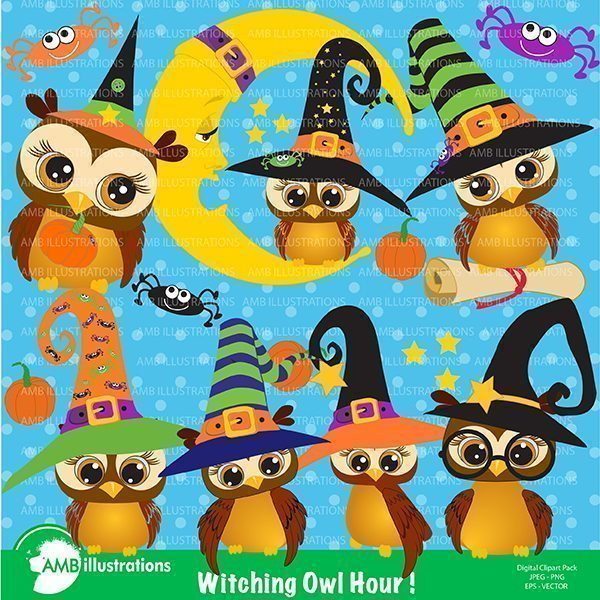 Cute Witch Owl clipart  AMBillustrations    Mygrafico