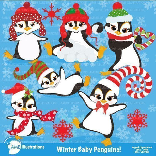 Winter baby penguins clipart  AMBillustrations    Mygrafico