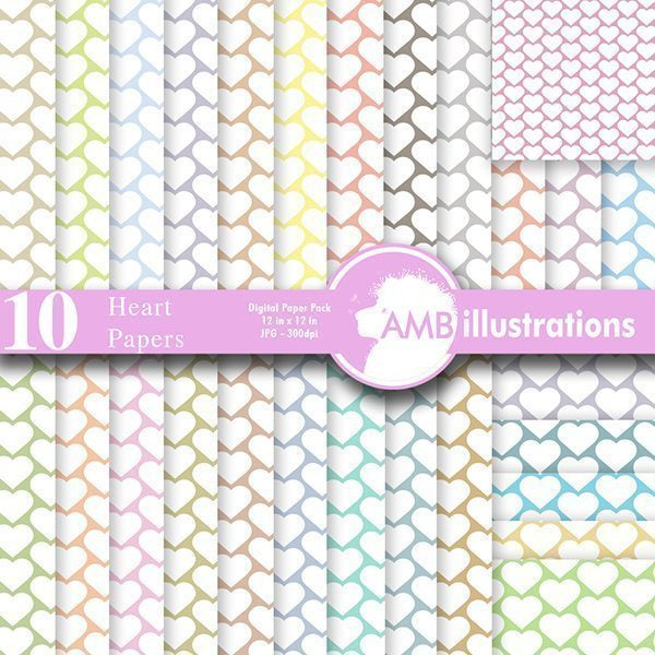 30 Candy Heart pastel scrapbook papers Digital Papers & Background AMBillustrations    Mygrafico