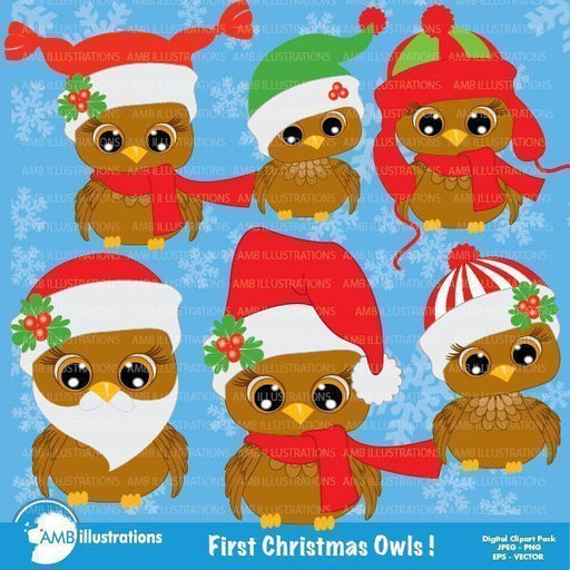 Christmas Owls clipart  AMBillustrations    Mygrafico
