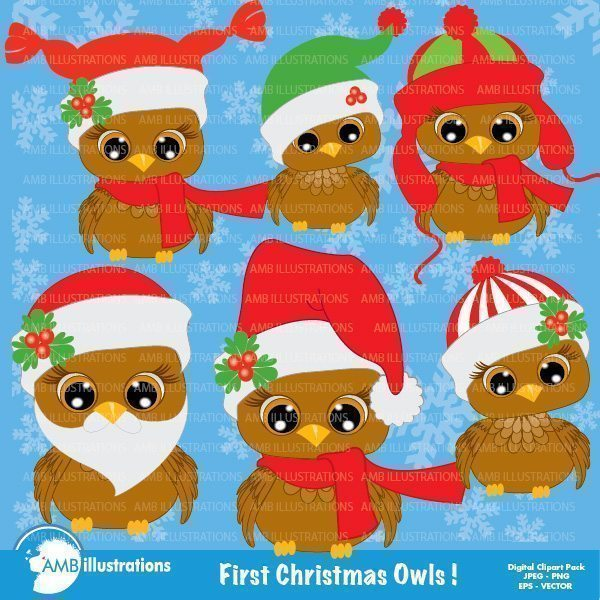 Christmas Owls clipart 2  AMBillustrations    Mygrafico