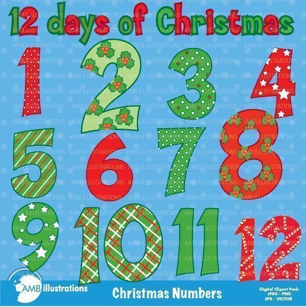 Christmas numbers clipart  AMBillustrations    Mygrafico