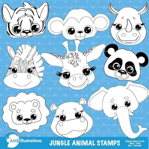 Jungle Animal faces stamps  AMBillustrations    Mygrafico