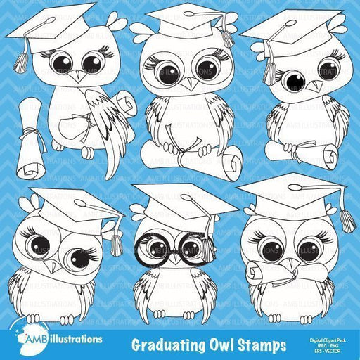 Graduation Owls stamps Digital Stamps AMBillustrations    Mygrafico