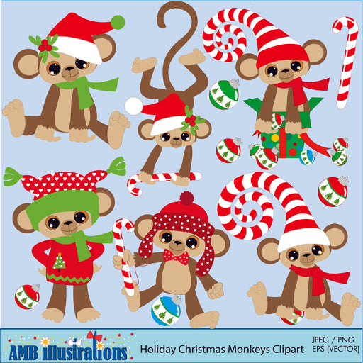 Holiday Christmas Monkeys Clipart Cliparts AMBillustrations    Mygrafico