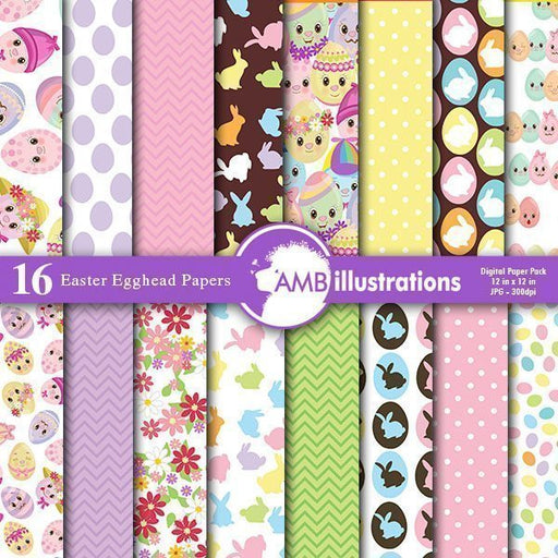 Easter Egghead Papers Digital Papers & Backgrounds AMBillustrations    Mygrafico