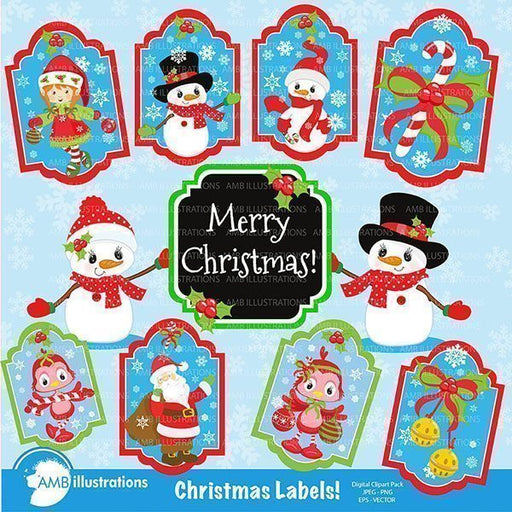 Christmas tags, Christmas labels Printable Templates AMBillustrations    Mygrafico