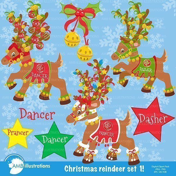 Christmas reindeer Dasher, Dancer,Prancer  AMBillustrations    Mygrafico