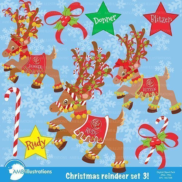 Reindeer clipart, Christmas clipart, Donner, blitzen and rudolph  AMBillustrations    Mygrafico
