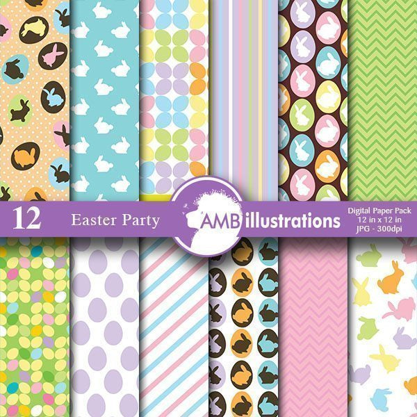 Easter digital paper - Easter frenzy  AMBillustrations    Mygrafico
