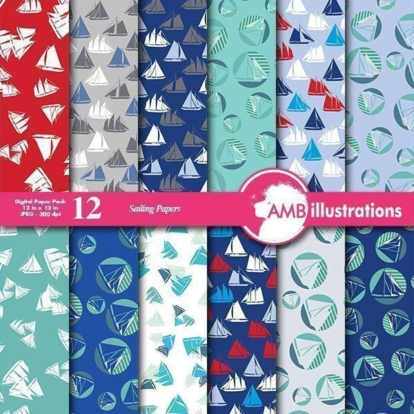 Sailboat background papers  AMBillustrations    Mygrafico