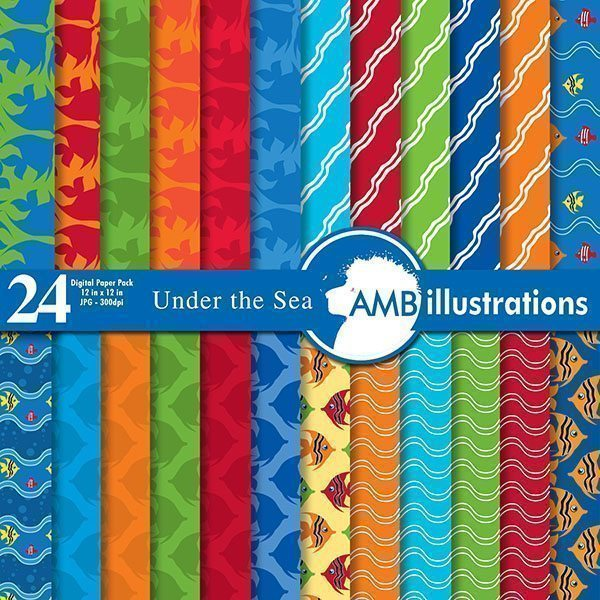 Deep ocean scrapbooking papers  AMBillustrations    Mygrafico