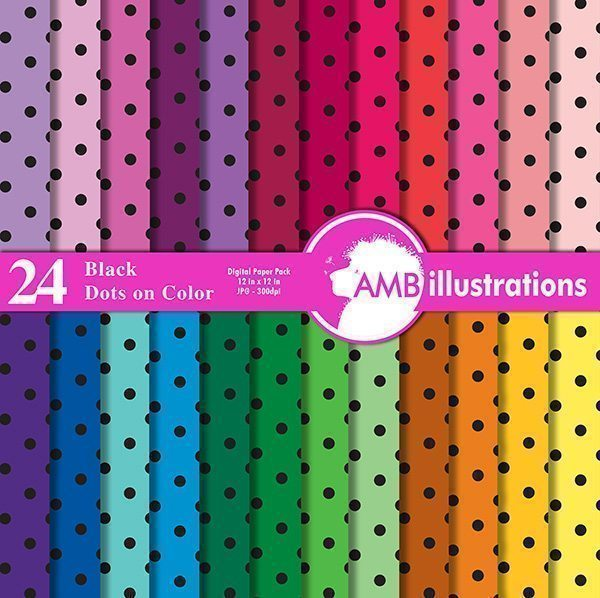 24 RAINBOW COLOR POLKA DOT PAPER Digital Papers & Background AMBillustrations    Mygrafico